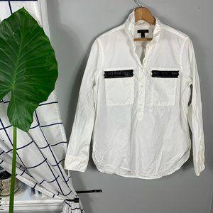 J. Crew White Black Trim Henley Style Tunic Sz 10
